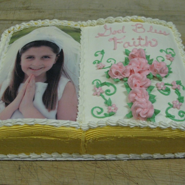 1/4 Sheet First Communion Photo Bible Cake