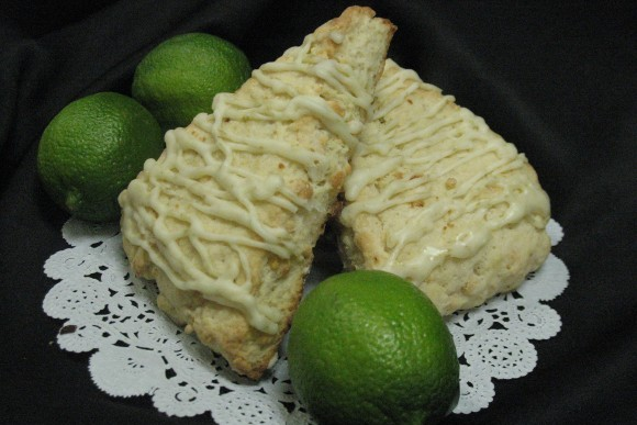 Lime-Coconut-White Chocolate Chip Scone