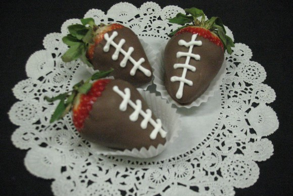 Football Chocolate Covered Strawberry
