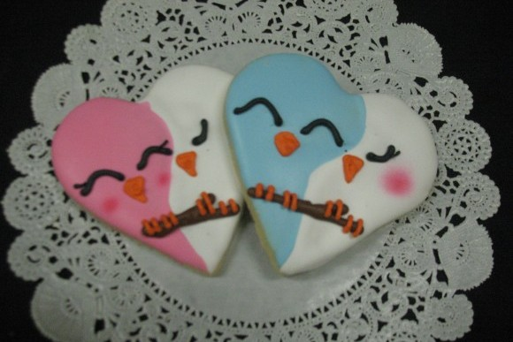 Hand Decorated Love Bird Cut-Out Cookies