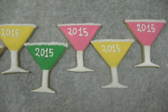 Hand Decorated New Year's Martini Glass Cut-Out Cookies 1