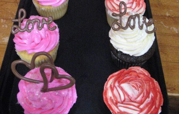 Chocolate Topped Valentine's Cupcakes
