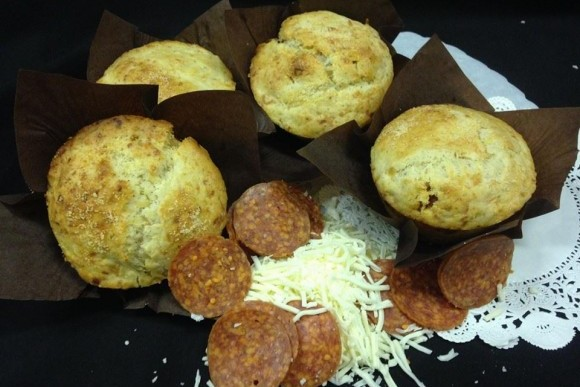 Pepperoni and Cheese Muffin