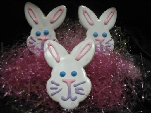 Hand Decorated Iced Bunny Cookie