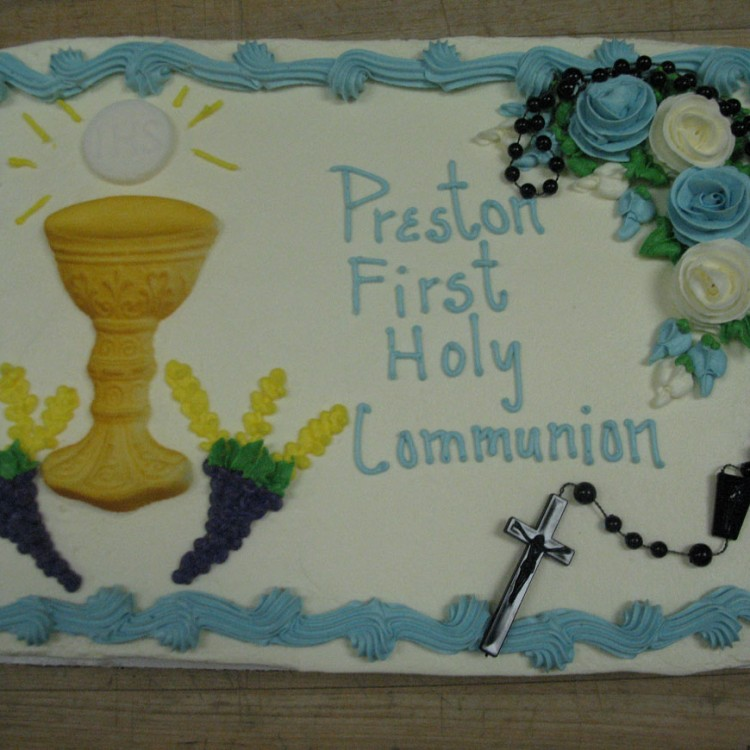 1/4 Sheet Communion With Rosary Cake