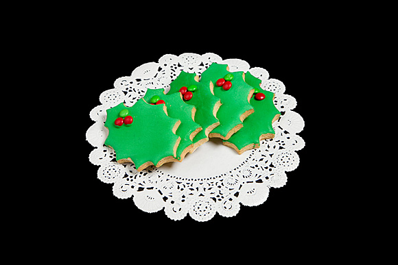 Hand Iced Holly Leaf Cut Out Cookies Grandma S Country Oven