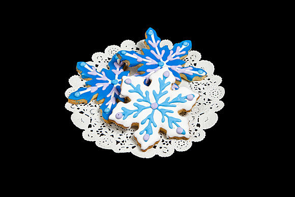 Hand Decorated Snowflake Cut-Out Cookie