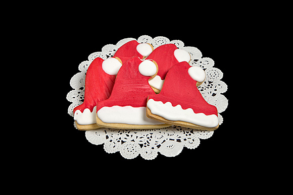 Hand Decorated Santa Hat Cut-Out Cookie 1