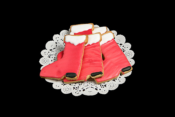 Hand Decorated Santa Boot Cut-Out Cookie