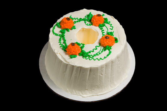 Fall Decorated Iced Angel Food Cake