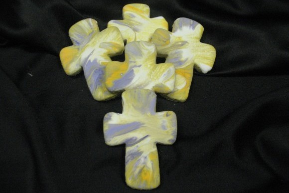 Hand Decorated Tye Dye Communion Cross Cookie 1