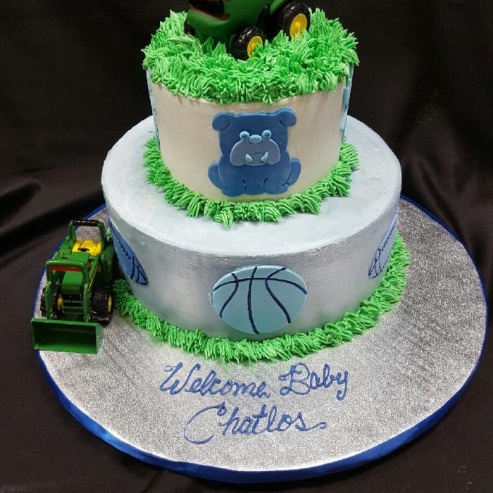 active baby boy shower cake