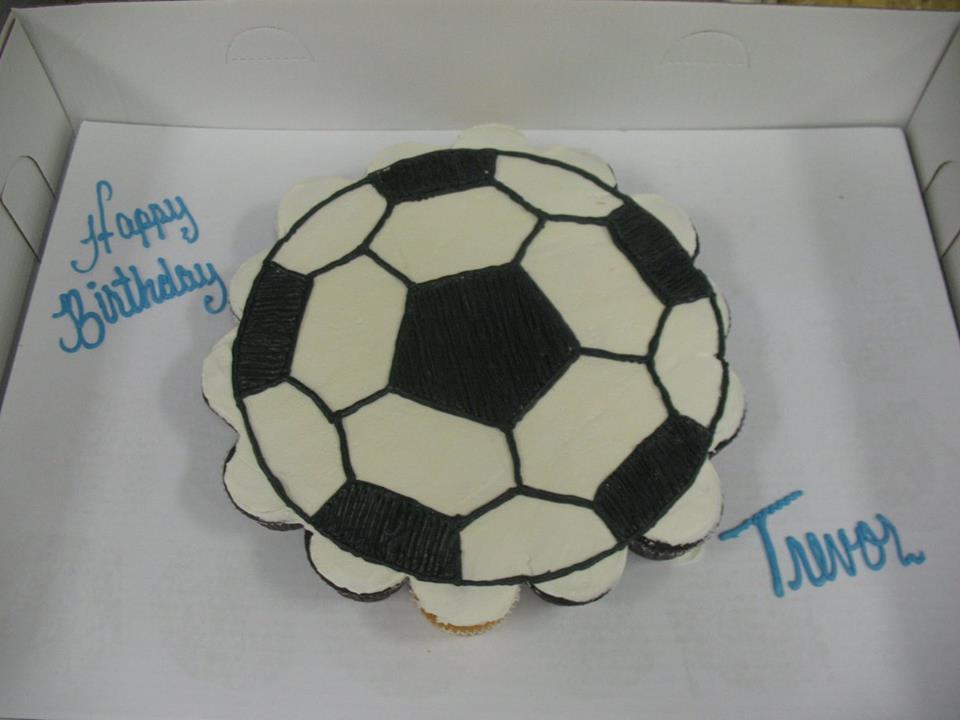 Stupendous Soccer Ball Cupcake Cake Grandmas Country Oven Bake Shoppe Funny Birthday Cards Online Overcheapnameinfo