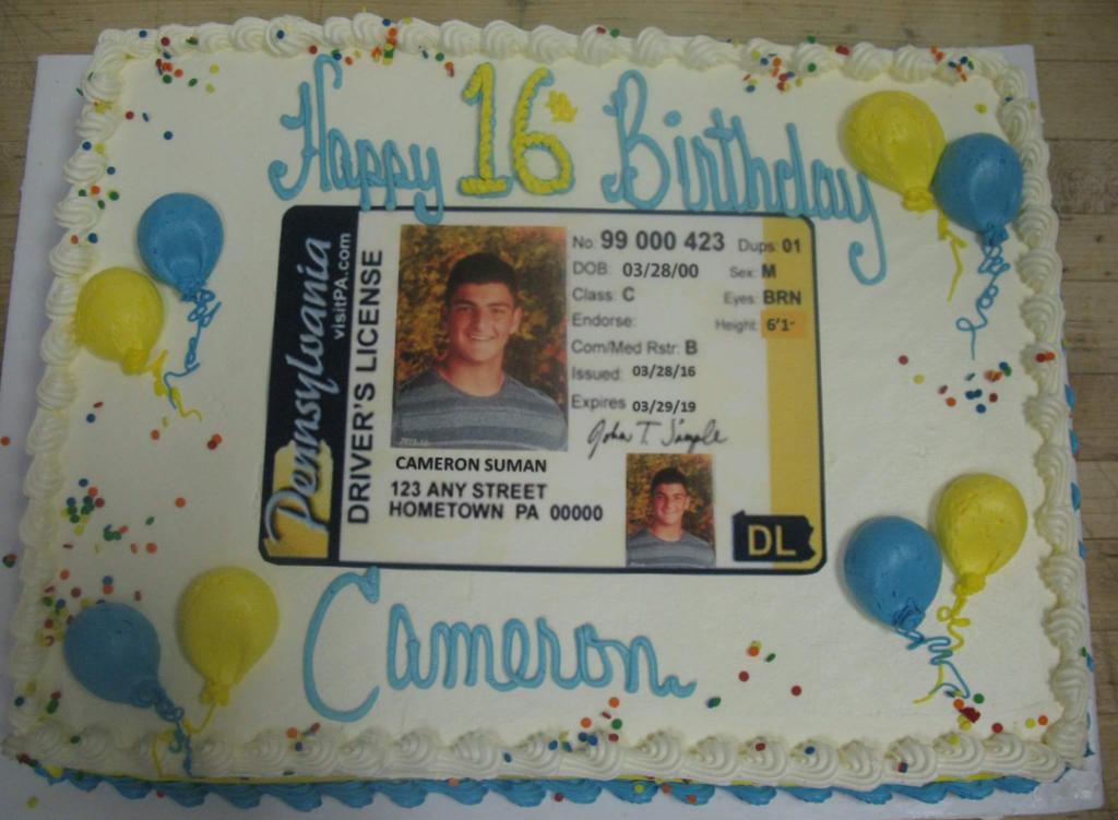 16th Birthday Drivers License Cake Grandmas Country Oven Bake Shoppe
