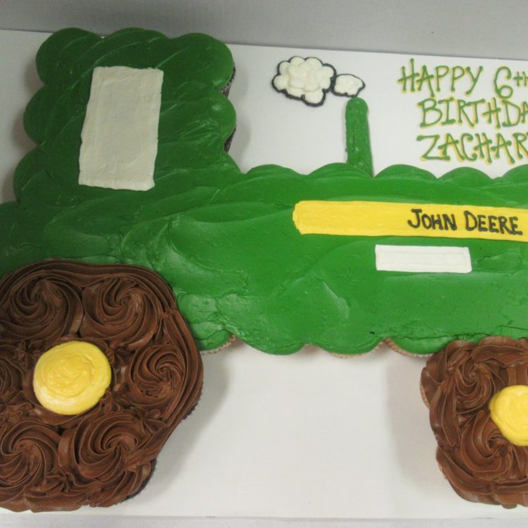 tractor cupcake cake