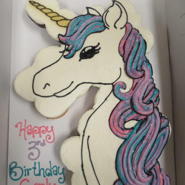 unicorn 2 cupcake cake